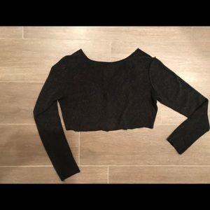 CROP TOP! Dark grey Long sleeve sweater crop top!
